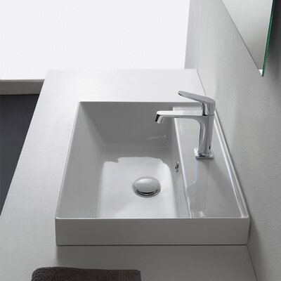 Teorema Rectangular Vessel Bathroom Sink with Overflow Faucet Mount: No Hole