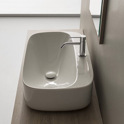 Moon Ceramic Oval Vessel Bathroom Sink with Overflow Faucet Mount: 8 Centers