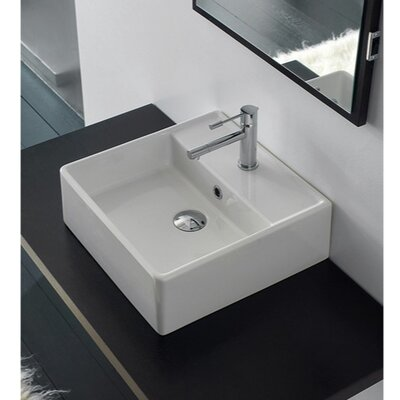 Teorema16 Wall Mounted Bathroom Sink with Overflow Faucet Mount: 8 Centers