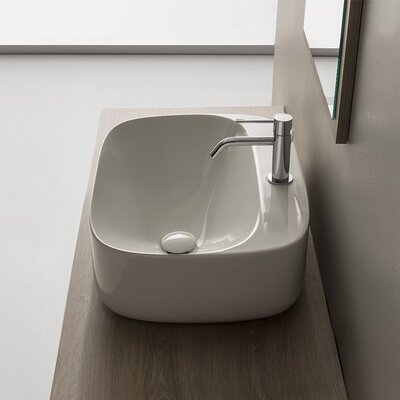 Moon Ceramic Oval Vessel Bathroom Sink with Overflow Faucet Mount: Single