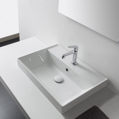 Teorema Ceramic Rectangular Vessel Bathroom Sink with Overflow Faucet Mount: Single