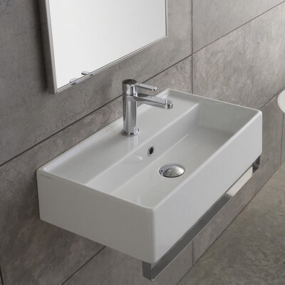 Teorema 32 Wall Mounted Bathroom Sink with Overflow Faucet Mount: 8 Centers