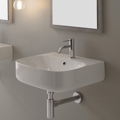 Moon Ceramic 20 Wall Mount Bathroom Sink with Overflow Faucet Mount: No Hole
