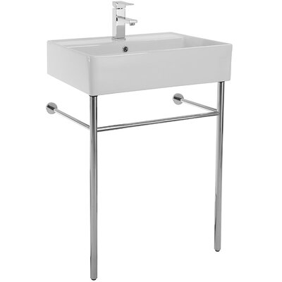 Teorema 23.5 Console Bathroom Sink with Overflow Faucet Mount: 8 Centers