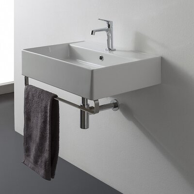 Teorema Ceramic 19 Wall Mount Bathroom Sink with Overflow Faucet Mount: Single