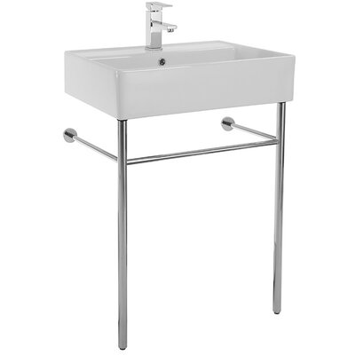Teorema Ceramic 24 Console Bathroom Sink with Overflow Faucet Mount: No Hole