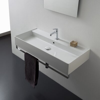 Teorema Ceramic 48 Wall Mount Bathroom Sink with Overflow Faucet Mount: Single
