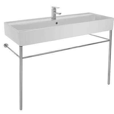 Teorema Ceramic 48 Console Bathroom Sink with Overflow Faucet Mount: 8 Centers