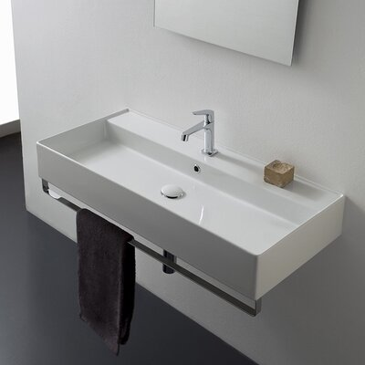 Teorema Ceramic 40 Wall Mount Bathroom Sink with Overflow Faucet Mount: Single