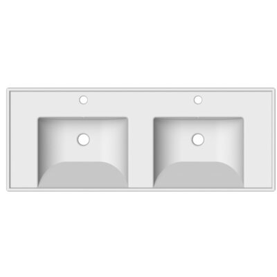 ML Ceramic 48 Console Bathroom Sink with Overflow Faucet Mount: 8 Centers