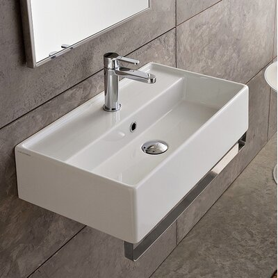 Teorema Ceramic 17 Wall Mount Bathroom Sink with Overflow Faucet Mount: No Hole