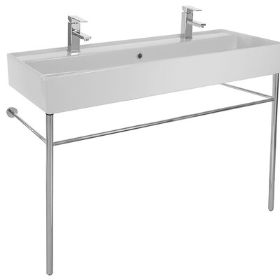 Teorema Ceramic 48 Console Bathroom Sink with Overflow Faucet Mount: No Hole