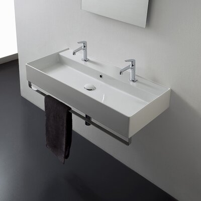 Teorema Ceramic 39 Wall Mount Bathroom Sink with Overflow Faucet Mount: No Hole