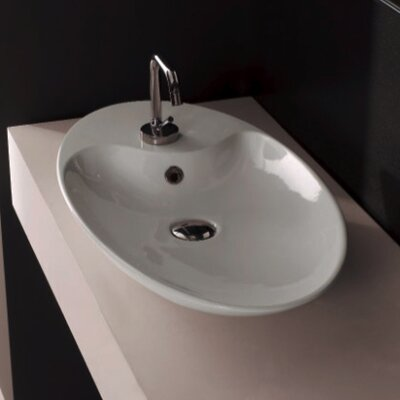 Shape Oval Vessel Bathroom Sink with Overflow Sink Finish: White