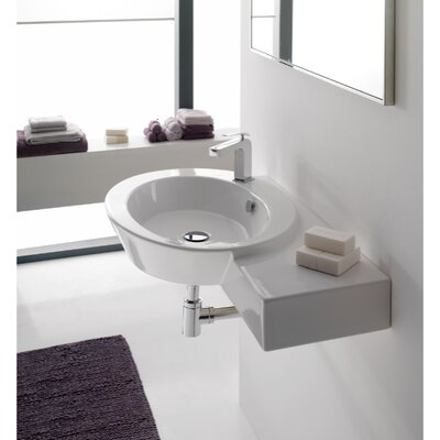 Wish Ceramic 35 Wall Mount Bathroom Sink with Overflow Sink Finish: White