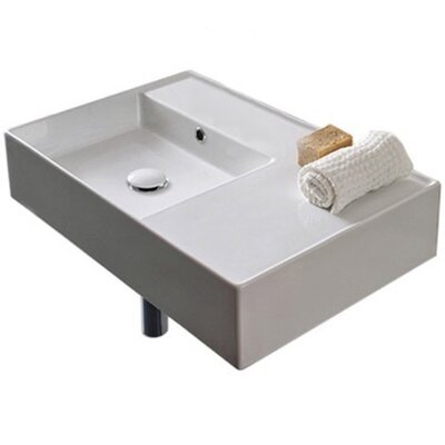 Teorema Ceramic Rectangular Vessel Bathroom Sink with Overflow Number of Installation Holes: No Hole