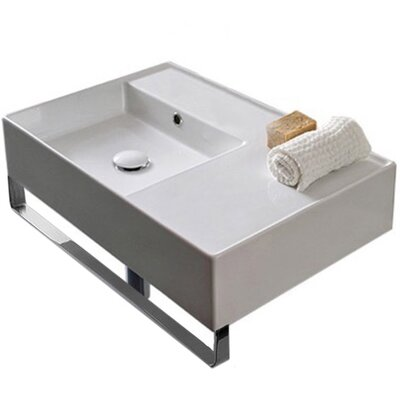 Teorema Ceramic 24 Wall Mount Bathroom Sink with Overflow Number of Installation Holes: No Hole
