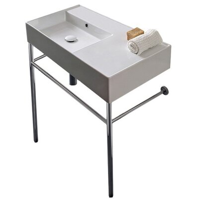 Teorema Ceramic 32 Console Bathroom Sink with Overflow Number of Installation Holes: No Hole