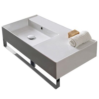 Teorema Ceramic 32 Wall Mount Bathroom Sink with Overflow Number of Installation Holes: No Hole