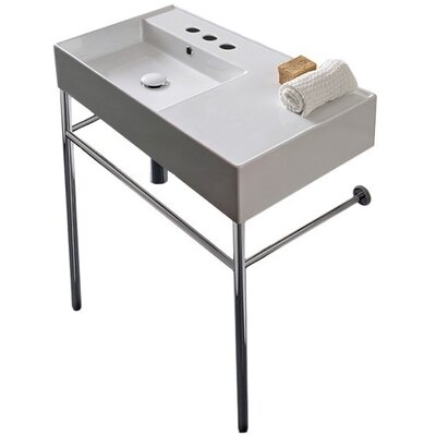 Teorema Ceramic 32 Console Bathroom Sink with Overflow Number of Installation Holes: Three Hole