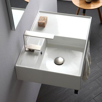 Teorema Ceramic 24 Wall Mount Bathroom Sink with Overflow Number of Installation Holes: One Hole