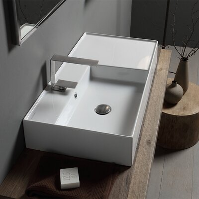 Teorema Ceramic Rectangular Vessel Bathroom Sink with Overflow Number of Installation Holes: One Hole