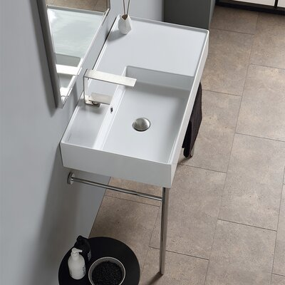 Teorema Ceramic 32 Console Bathroom Sink with Overflow Number of Installation Holes: One Hole