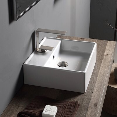 Teorema Ceramic 16 Wall Mount Bathroom Sink with Overflow