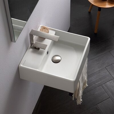 Teorema Ceramic 16 Wall Mount Bathroom Sink with Overflow Faucet Mount: Single