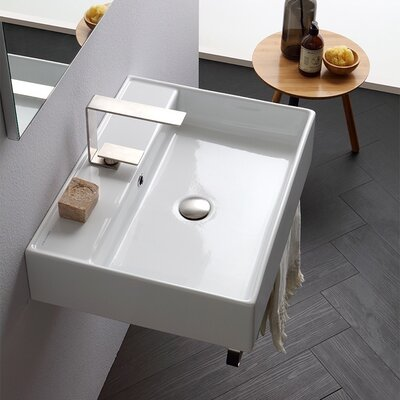 Teorema Ceramic 24 Console Bathroom Sink with Overflow Faucet Mount: Single
