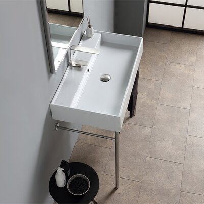 Teorema Ceramic 32 Console Bathroom Sink with Overflow Faucet Mount: Single
