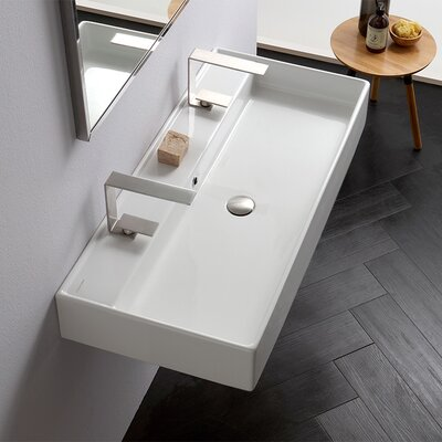 Teorema Ceramic 40 Wall Mount Bathroom Sink with Overflow Number of Holes: Two Holes