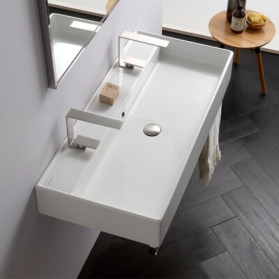 Teorema Ceramic 39 Wall Mount Bathroom Sink with Overflow Faucet Mount: Double