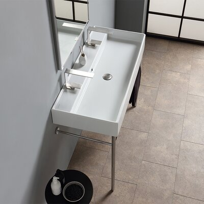 Teorema Ceramic 40 Console Bathroom Sink with Overflow Faucet Mount: Double