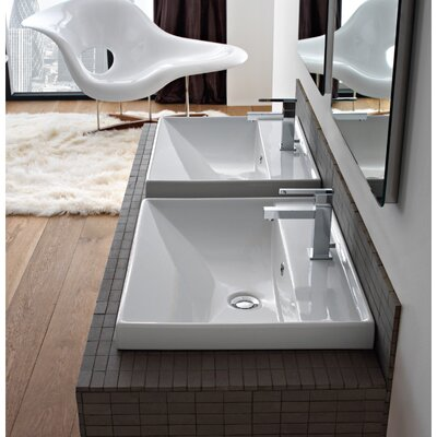 ML Ceramic Rectangular Drop-In Bathroom Sink with Overflow Number of Holes: Three Holes