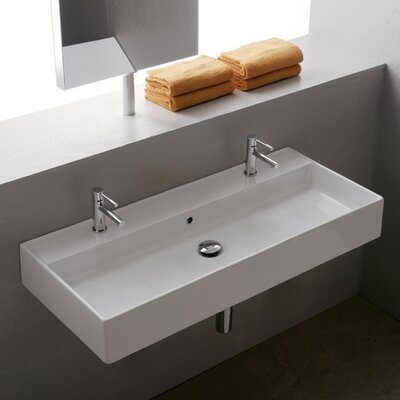 Teorema Ceramic 40 Wall Mount Bathroom Sink with Overflow Number of Holes: No Hole