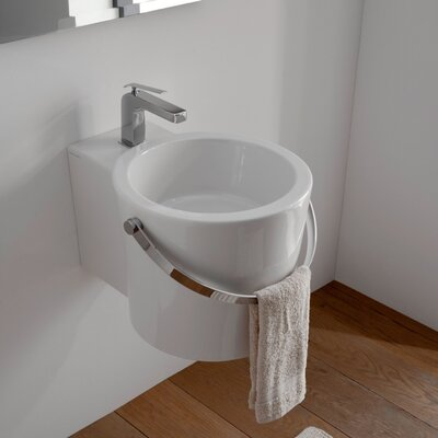 Bucket Ceramic 16 Wall Mount Bathroom Sink