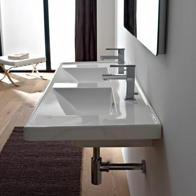 ML 48 Wall Mounted Bathroom Sink with Overflow Number of Holes: Two Holes