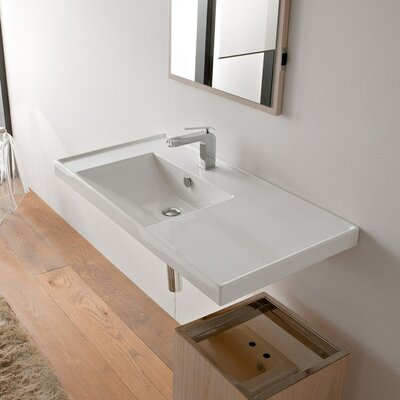 ML 36 Wall Mounted Bathroom Sink with Overflow Number of Holes: Single Hole