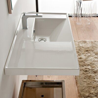 ML 36 Wall Mounted Bathroom Sink with Overflow Number of Holes: No Hole