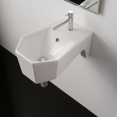 Bijoux Geometric 13 Wall Mounted Bathroom Sink with Overflow