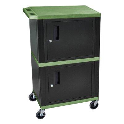 "H. Wilson Tuffy 42"" Dual Cabinet Storage Cart - Color: Black, Shelf Colors: Green at Sears.com"
