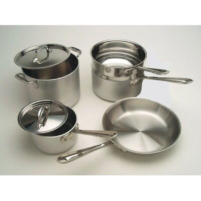 Master Chef Mc2 3-ply Brushed Aluminum 9-piece Cookware Set