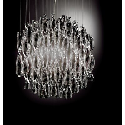 Avir 4-Light Semi Flush Mount Color: White Glass / Polished Steel
