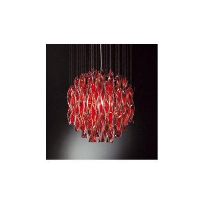 Avir 4-Light Semi Flush Mount Color: Red Glass / Gold Leaf