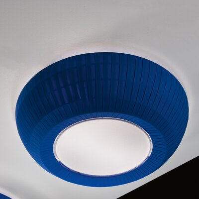Bell 1-Light Flush Mount Color: Blue, Size: 7.63 H x 35.38 W, Bulb Type: Fluorescent