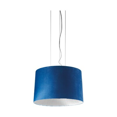 Velvet Drum Pendant (Incandescent) Color: Blue Shade with White Diffuser, Size: 149.63 H x 63 W