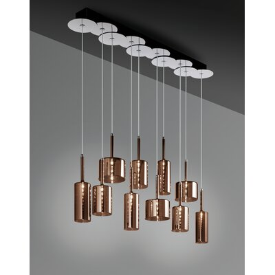 Spillray 10-Light Linear Pendant Shade Color: Red