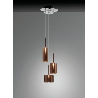 Spillray 3-Light Cluster Pendant Shade Color: Red