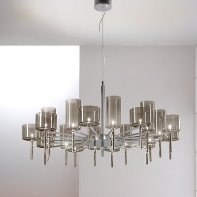Spillray 20-Light Shaded Chandelier Shade Color: Grey